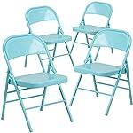 Flash Furniture 4 Pk. HERCULES COLORBURST Series Tantalizing Teal Triple Braced & Double Hinged Metal Folding Chair