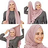 Cotton and Shiffon head scarf, instant hijab, ready to wear muslim accessories for women (Powder)