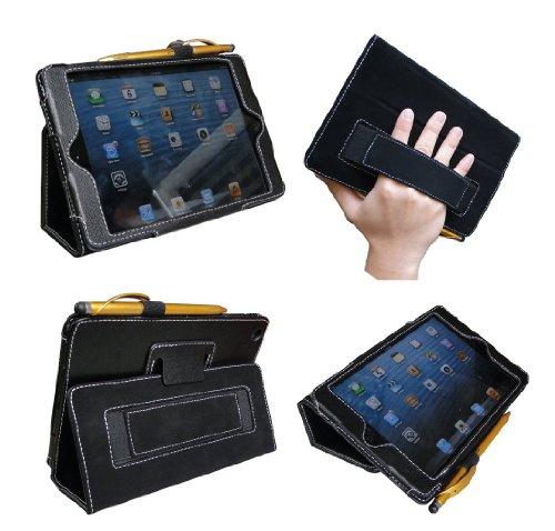 Jinique Ipad Mini Case Premium Pu Leather And Smooth Microfiber Interior With Elastic Hand Strap And Smart Wake/Sleep Feature (Black)