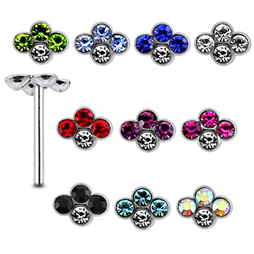 [20 Pieces Mix Color Jeweled 4 Stone Flower 925 Sterling Silver Nose Pin Straight End 20Gx5/16 (0.8x8MM). Pack in Acrylic] (Minnie Mouse Nose)