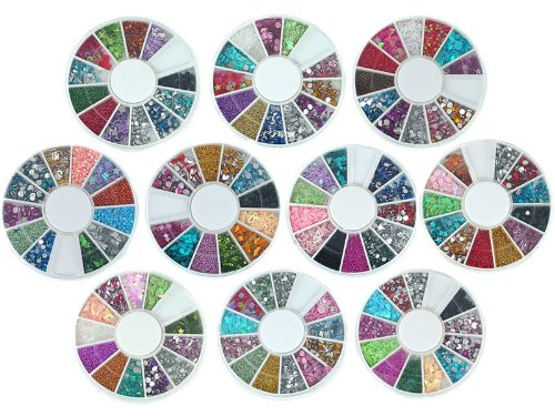 Bundle Monster 10 Nail Art Nailart Manicure Wheels w/ 3D Designs Glitters Rhinestones Beads - total over 14000pc