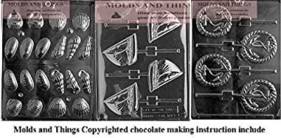 Anchor Lolly Chocolate Candy Mold , Sailboat Lolly Chocolate Candy Mold and Shell chocolate candy mold With © Candy Making Instruction