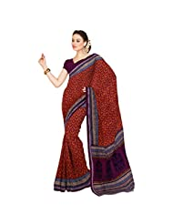 Inddus Exclusive Women Ravishing Orange Cotton Printed Saree
