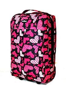 Small 18 Medium 20 Large 26 Extra Large 30 Wheeled Holdall Luggage Suitcase Flight Bag Floralhearts20 Obk Blackhearts