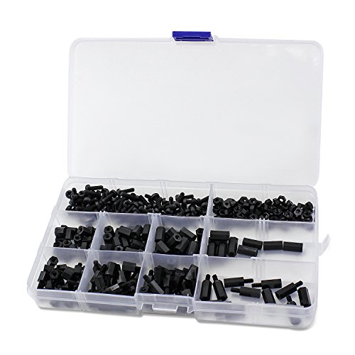 aussel-m3-nylon-black-hex-screw-nut-spacer-standoff-varied-length-assortment-with-box-300pcs-by-auss