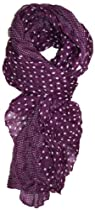 LibbySue-Border Print Polka-Dot Crinkle Scarf in a Choice of Colors, Plum Purple