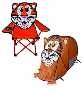 Childrens tiger pop up tent and folding chair combo