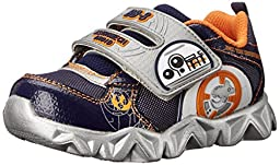 Skechers Kids Star Wars Datarox Sauder Light-Up Sneaker, Navy/Orange, 5 M US Toddler