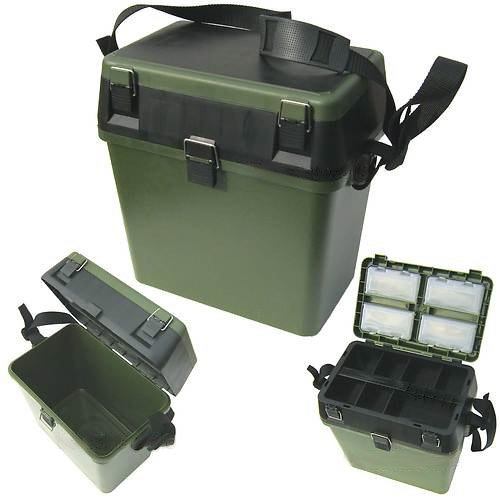 <strong>Fishing Fishing Seat< strong> & Tackle <strong>Box< strong> - Seatbox for all Styles of <strong>Fishing< strong> with Shoulder Strap - Green