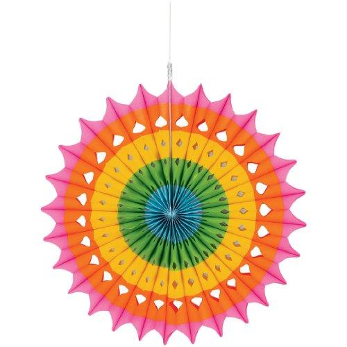 """Amscan Bright Multicolor Hanging Fan, 16"""", Multicolor"""