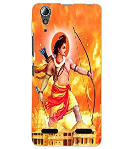 ColourCraft Lord Rama Design Back Case Cover for LENOVO A6000 PLUS