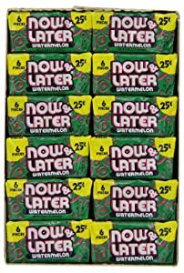 Now & Later Chewy Candy, Watermelon, 24 Count (Pack of 12)