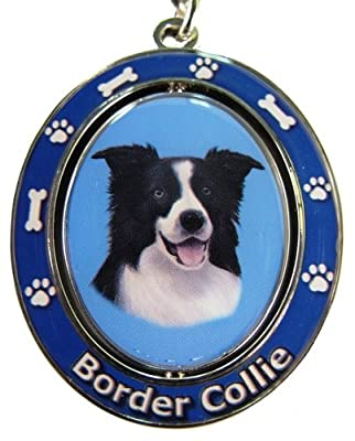 """Border Collie Key Chain """"Spinning Pet Key Chains""""Double Sided Spinning Center With Border Collies Face Made Of Heavy Quality Metal Unique Stylish Border Collie Gifts"""
