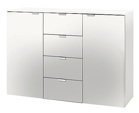 Solutions 30804-070 Kommode mit zwei Drehturen und vier Schubkästen, 140 x 80 x 42 cm, polarweiß, Holzwerkstoff