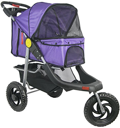 VIVO Three Wheel Jogging Pet Stroller, for Cat, Dog and More, Foldable Jogger Carrier Strolling Cart, Multiple Colors (Purple)
