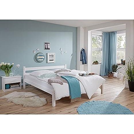 Einzelbett mit Nachttisch massiv weiß lackiert ● Liegefläche 90x200cm ● inkl. Nachtkommode ● Jugendbett Gästebett Einzelbett