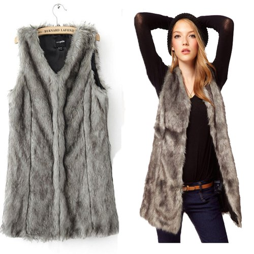 Grey Warm Faux Fur Long Vest Gilet (large)