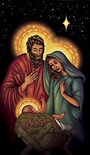 "WOWindow Posters Jesus Mary Joseph Manger Christmas Window Decoration 34.5""x60"" Backlit Poster"