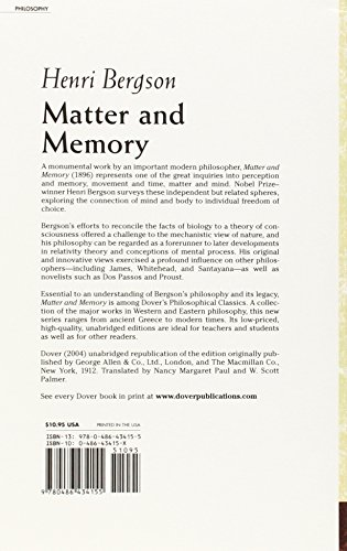Matter and Memory (Dover Philosophical Classics)