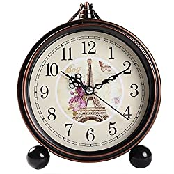 Vintage Silent Desk Alarm Clock Non Ticking Quartz Movement Battery Operated , HD Glass Lens, Easy to Read (8)