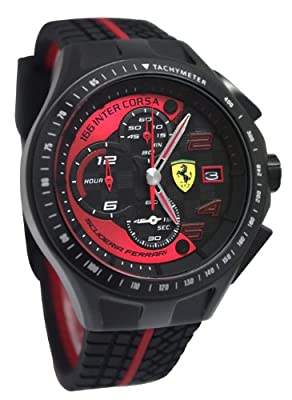 Ferrari 0830077 Scuderia SF103 Chrono Black/Red Race Day Rubber Men Watch NEW