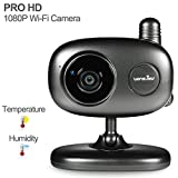 Wansview ProHD 1080P WiFi Wireless IP Security Camera System with Two-Way Audio and Night Vision,Baby/Nanny/Pet Monitor,Temperature and Humidity Sensor K1(Black)