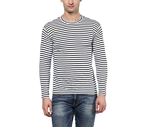 Hypernation-Blue-and-White-Stripe-Round-Neck-Cotton-T-shirt-For-Men