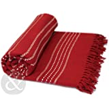 """Just Contempo King Size - 254cm x 254cm (100"""" x 100"""") kingsize 100% Cotton 100% COTTON Luxury Thermal Woven Throw Over - Sofa / Bed Blanket, Red"""