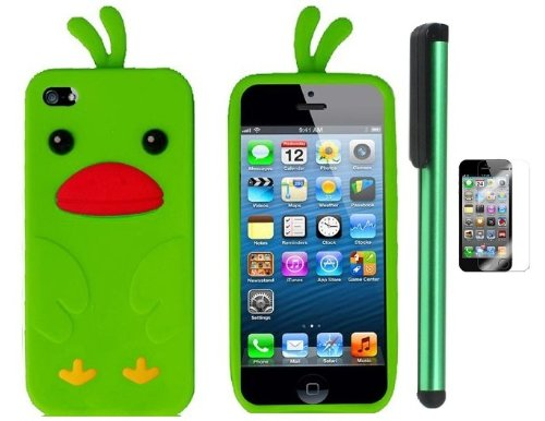 >>  Neon Green Funny Duck Silicone Skin Premium Design Protector Soft Cover Case Compatible for Apple Iphone 5 (AT&T, VERIZON, SPRINT) + Screen Protector Film + Combination 1 of New Metal Stylus Touch Screen Pen (4