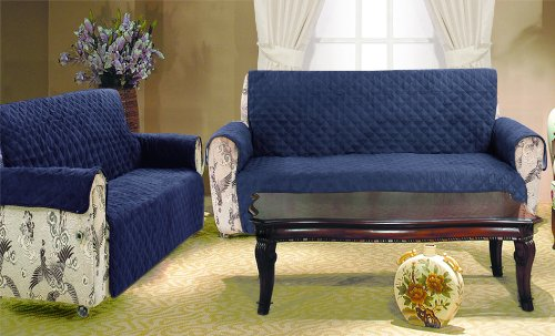 2 Piece Set Navy Blue Quilted Micro Suede Pet Dog Sofa