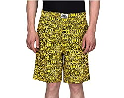 NUTEEZ STRONGER AT NIGHT YELLOW COTTON SHORTS