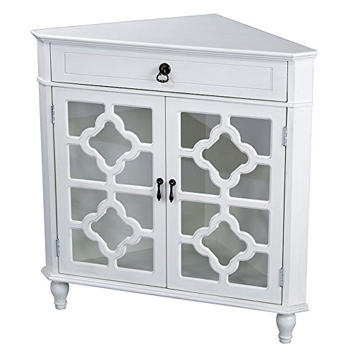Heather Ann Creations 2-Door Corner Cabinet with Drawer and 8-Pane Clover Glass Insert, Antique White Distressed White 2 Door Cabinet