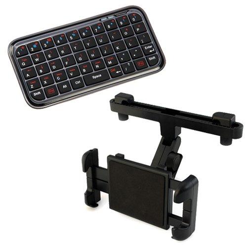 Ikross Easy Adjustable Car Headrest Mount Holder Plus Bluetooth Keyboard All Tablets: Samsung Galaxy Tab 4 Nook Sm-T230Nu; Asus Transformer Book T200Ta, Microsoft Surface Pro 3 ; Dell Venue 7 / 8 ; Samsung Galaxy Tab S 10.5 / 8.4 ; Lg G Pad 10.1 (V700/V71