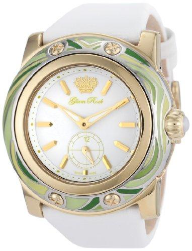 Glam Rock GR10500 - Reloj analógico de cuarzo para mujer con correa de tela, color blanco