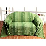 100% Cotton Morocco Striped Green Throw