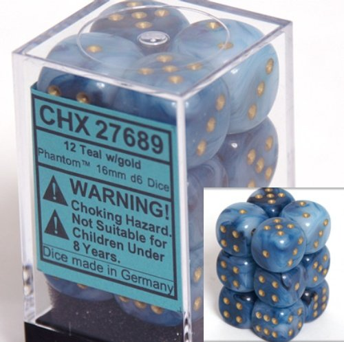 Chessex Dice d6 Sets: Phantom Teal with Gold - 16mm Six Sided Die (12) Block of Dice