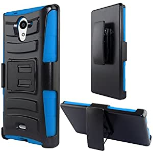 Zizo Sharp Aquos Crystal X 5.5 Heavy Duty Armor Style 2 Case with Holster - Retail Packaging - Blue/Black