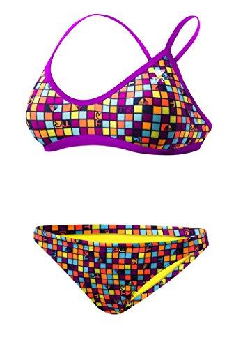 TYR Women's Check Crosscut Fit Workout Bikini, Purple/Orange, Small image