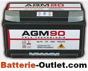 autobatterie starterbatterie panther agm 12v 90ah 900a. Black Bedroom Furniture Sets. Home Design Ideas