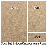 Indoor-outdoor Camel , 3 Piece Set, Patio Rug's (8x10 Area Rug, 3x8 Runner, 2x3 Mat)