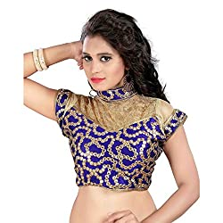 AV TRENDZ GOOD LOOKING DESIGNER BLUE&GOLDEN COLOR NAVRATRI FESTIVAL RELATED EMBROIDERED & MIRROR WORK SAREE AND LEHENGHA CHOLI RELATED FANCY BLOUSE