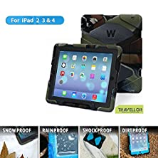 buy Ipad 2 Case,Ipad 3 Case,Ipad 4 Case,Travellor® *Slim Military-Duty* Silicone Product Ipad Kids Proof And Full Body Protective Case With Kickstand And Blet Clip For-Apple Ipad 2/3/4 - Army/Black