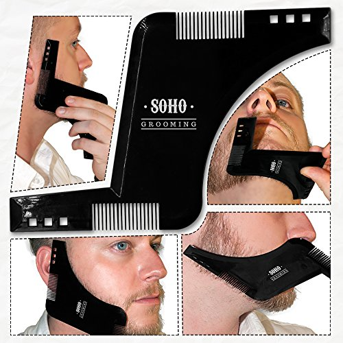 Beard and Goatee Shaving Template Tool and Comb - Precise Symmetric Neck and Cheek Hair Line Shaving - EasUse Glide Technology - Perfect Gift for your Boyfriend and Husbands! Limited Stock Available!