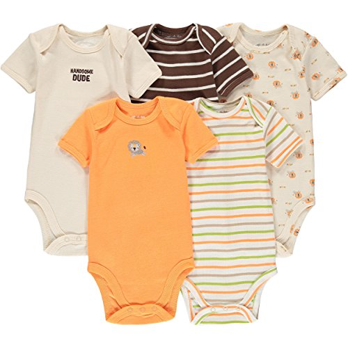 Wan-A-Beez 5 Pack Baby Short-Sleeve Bodysuits - Orange Lion - 24 Months