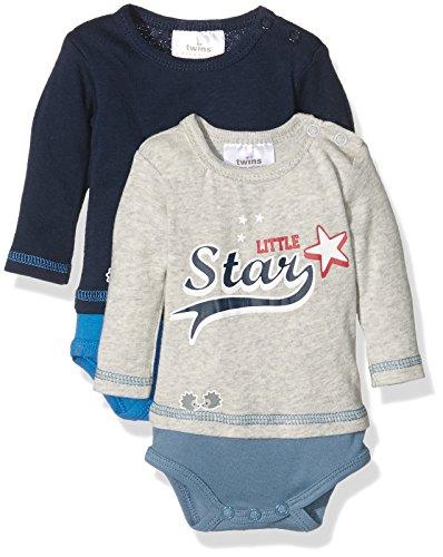 Twins Baby-Jungen Body langarm Little Star, 2er Pack, Blau...