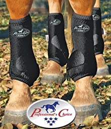 Professionals Choice Equine Sports Medicine Ventech Elite Leg Boot Value Pack, Set of 4 (Medium, Black)