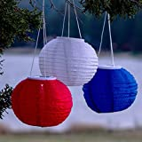 "Set of 3 Hanging Oriental 10"" Weatherproof Rechargeable Nylon Solar Lanterns - Red, White and Blue"
