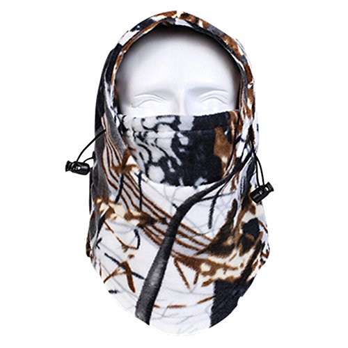 Your Choice Adjustable Thermal Fleece Balaclava Winter Neck Warmer Hood Cap Hat Size Free White Brown (Ice Fishing Gear Bag compare prices)