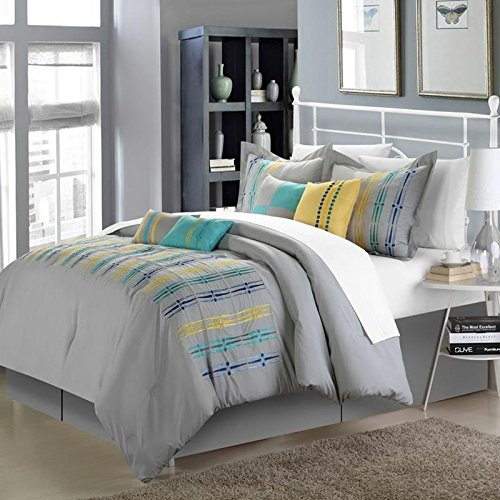 Chic Home 8-Piece Swimmy Embroidered Comforter Set, King, Grey front-983116