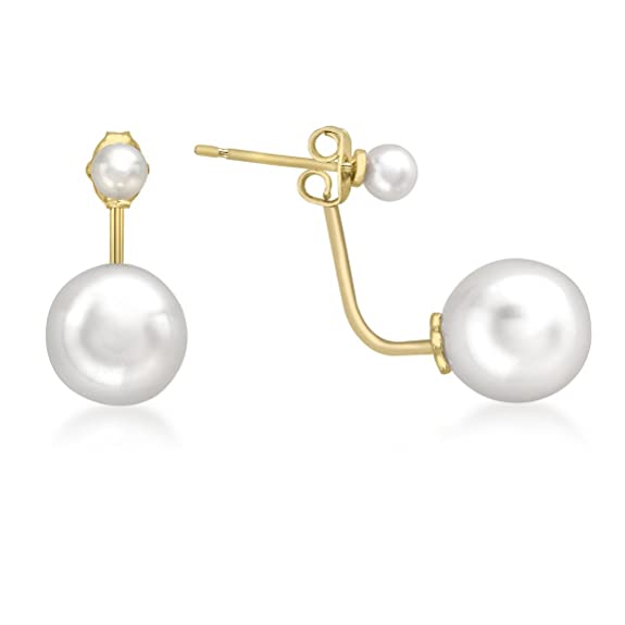 Carissima Gold 9ct Yellow Gold Double Pearl Jacket Earrings